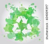 recycle symbol icon watercolor | Shutterstock .eps vector #604009397