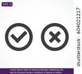 check mark and cross icons | Shutterstock .eps vector #604021217