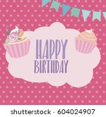 cute birthday greeting card or... | Shutterstock .eps vector #604024907