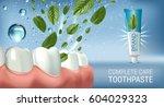 antibacterial toothpaste ads.... | Shutterstock .eps vector #604029323