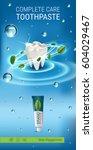 antibacterial toothpaste ads.... | Shutterstock .eps vector #604029467