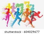 running people. fitness... | Shutterstock .eps vector #604029677
