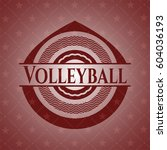 volleyball realistic red emblem | Shutterstock .eps vector #604036193