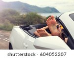 woman with feet up in luxury... | Shutterstock . vector #604052207
