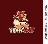 super grill. logo template. | Shutterstock .eps vector #604057907