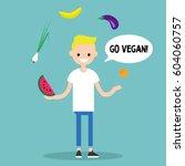 modern lifestyle. go vegan.... | Shutterstock .eps vector #604060757