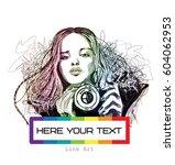 rainbow line art girl with... | Shutterstock .eps vector #604062953