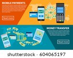 mobile payments concept in flat ... | Shutterstock .eps vector #604065197