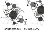 hexagon background  black and... | Shutterstock .eps vector #604066697