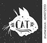 cat. hand drawn typography... | Shutterstock .eps vector #604072553