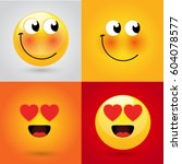 emoticon or smiley icon set for ... | Shutterstock .eps vector #604078577