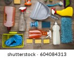 assorted cleaning products | Shutterstock . vector #604084313