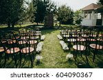 wedding ceremony in eco style... | Shutterstock . vector #604090367