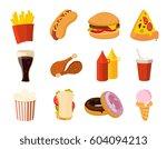 cartoon fast food  burger ...   Shutterstock .eps vector #604094213
