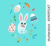 happy easter greeting or banner ... | Shutterstock .eps vector #604095167
