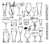 cocktails   set of 19 hand... | Shutterstock .eps vector #604095617