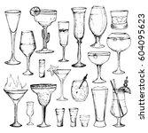 cocktails   set of 20 hand... | Shutterstock .eps vector #604095623