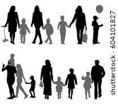 set silhouette of happy family... | Shutterstock .eps vector #604101827