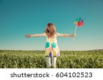 happy child outdoors against... | Shutterstock . vector #604102523
