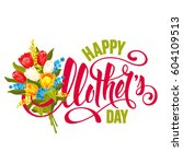 mothers day design with... | Shutterstock .eps vector #604109513