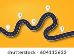 winding road on a colorful... | Shutterstock .eps vector #604112633