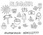 summer elements hand drawn set. ... | Shutterstock .eps vector #604112777