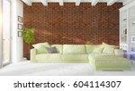 modern bright interior . 3d... | Shutterstock . vector #604114307
