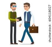 two men make a transaction on... | Shutterstock .eps vector #604118027