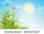 sunny summer background with... | Shutterstock .eps vector #604119107