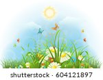summer floral background with... | Shutterstock .eps vector #604121897
