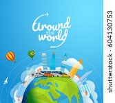 around the world tour by... | Shutterstock .eps vector #604130753