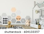 mock up wall in child room... | Shutterstock . vector #604133357