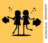 silhouettes of girls with... | Shutterstock .eps vector #604143593