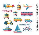 travel transport icons set ... | Shutterstock .eps vector #604146833