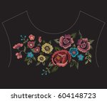 embroidery colorful ethnic neck ... | Shutterstock .eps vector #604148723