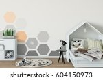 mock up wall in child room... | Shutterstock . vector #604150973