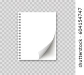 realistic spiral notepad blank... | Shutterstock .eps vector #604154747