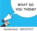 hand holding megaphone.... | Shutterstock .eps vector #604157417