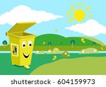a garbage can smiles because of ... | Shutterstock .eps vector #604159973