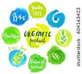 set of watercolor green logo.... | Shutterstock .eps vector #604163423