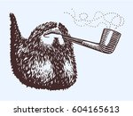 hand drawn beard and tobacco... | Shutterstock .eps vector #604165613