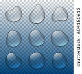 vector realistic water drops...   Shutterstock .eps vector #604180613