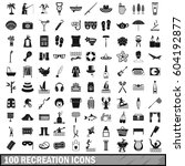 100 recreation icons set in... | Shutterstock .eps vector #604192877