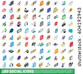 100 social icons set in... | Shutterstock .eps vector #604192943