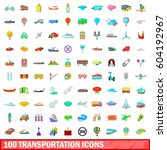 100 transportation icons set in ... | Shutterstock .eps vector #604192967