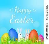 happy easter. family of rabbits ... | Shutterstock .eps vector #604193507