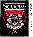 motorcycle poster skull tee...   Shutterstock .eps vector #604193867