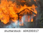 burning house. single family... | Shutterstock . vector #604200317
