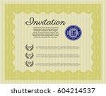 yellow retro invitation...   Shutterstock .eps vector #604214537