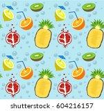 summer fruit pattern | Shutterstock .eps vector #604216157
